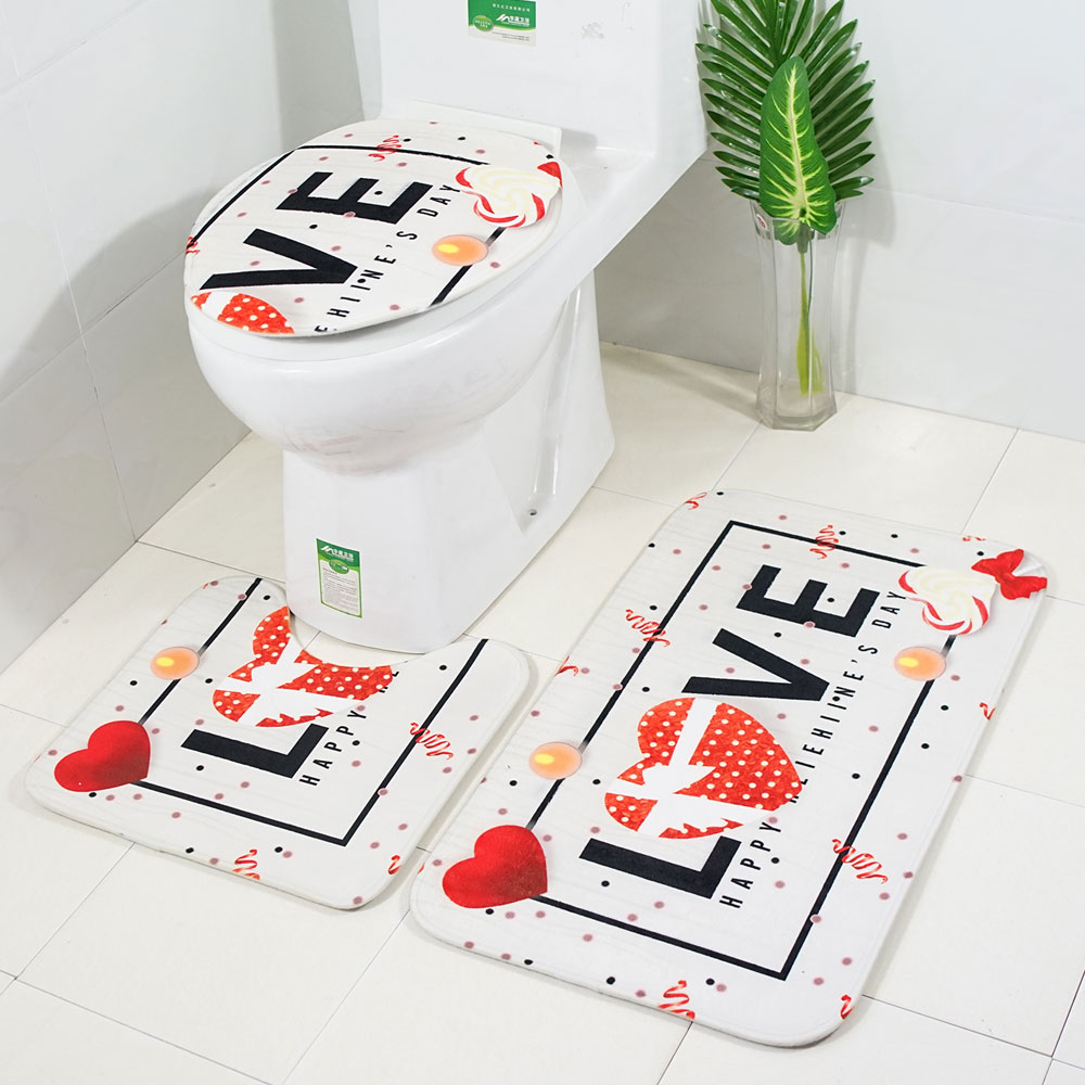 Valentine'S Day HD Print Toilet Mat Three-Piece- White 1 set