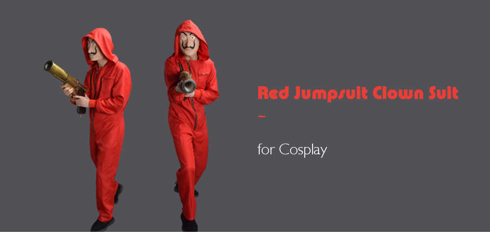 Red Jumpsuit Clown Suit for Cosplay- Red S