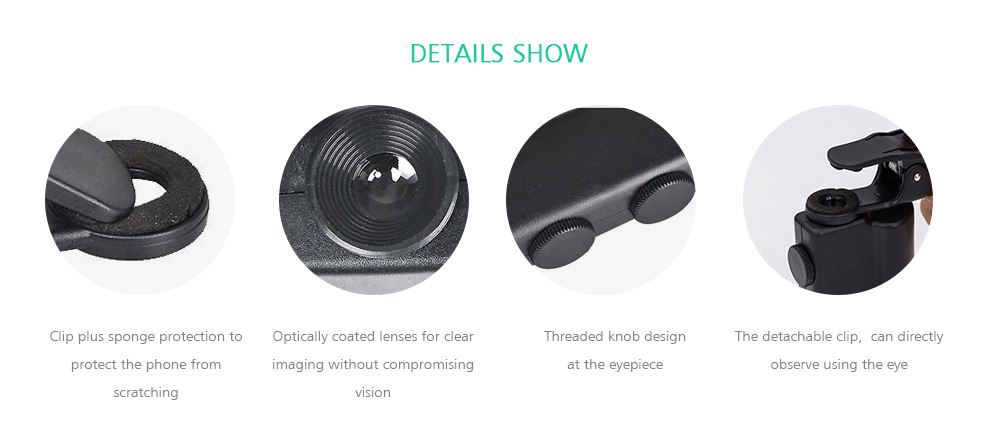 60 - 100 Times Universal Mobile Phone Clip Magnifying Glass Portable Microscope with Light Counterfeit Lamp 7751W- Black