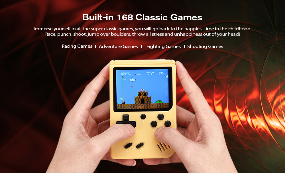 Classic Handheld Console with Built-in 168 Nostalgic Games- Black