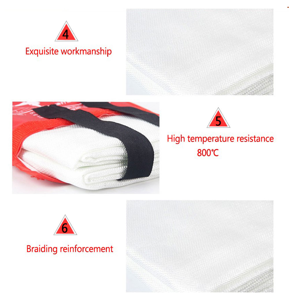 Fire Emergency Blankets Fireproof Household Glass Fiber Blanket- Milk White 1 x 1M