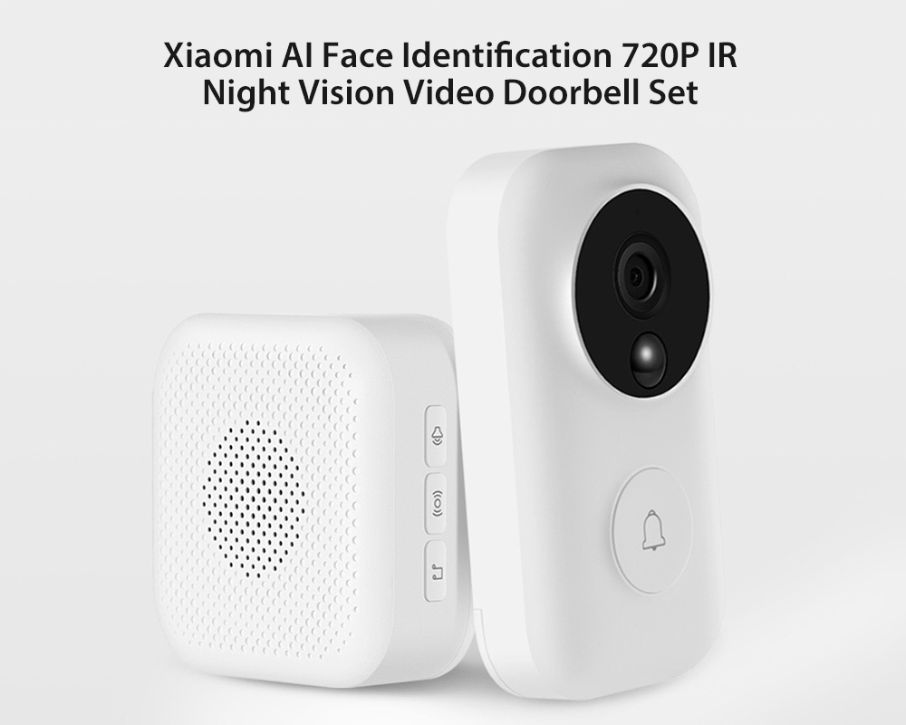 Xiaomi AI Face Identification 720P IR Night Vision Video Doorbell Set White