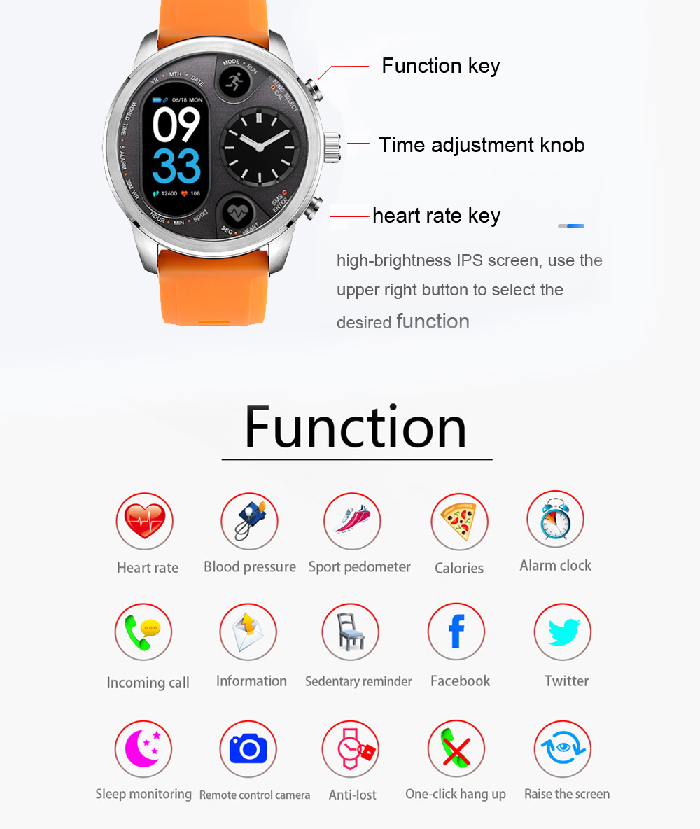 T3 Sports Smart Watch IP68 Waterproof Stainless Steel Fitness Hybrid Dual Time Zone Blood Oxygen Pressure Monitoring Activity Tracker Smartwatch - Silver
