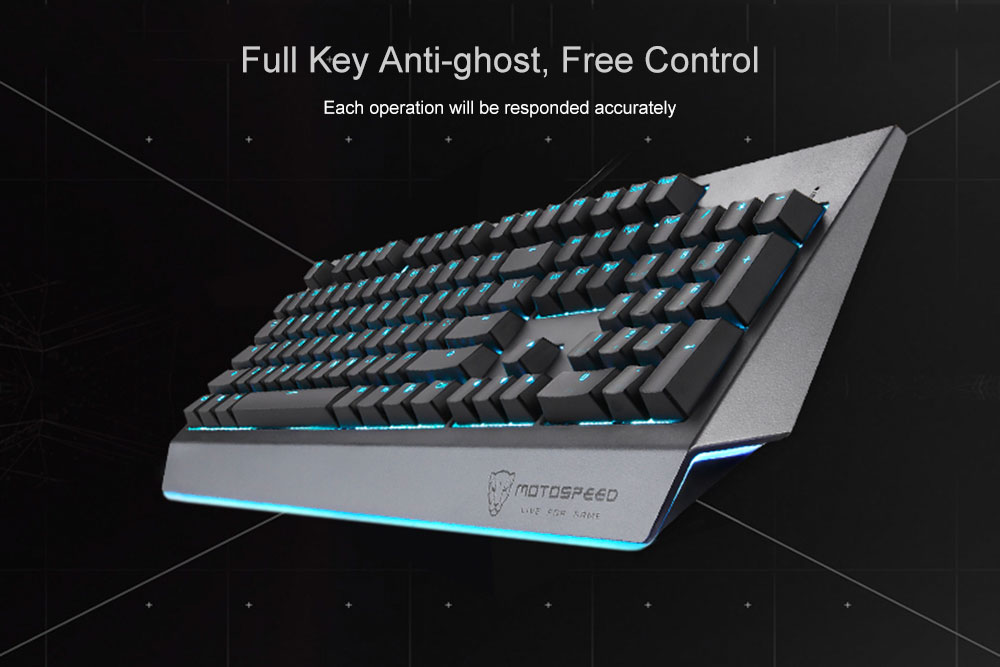 MOTOSPEED CK99 RGB Mechanical Keyboard All Key Anti-ghost 12 Lighting Effects Cherry Red Switch- Battleship Gray Cherry Red Switch