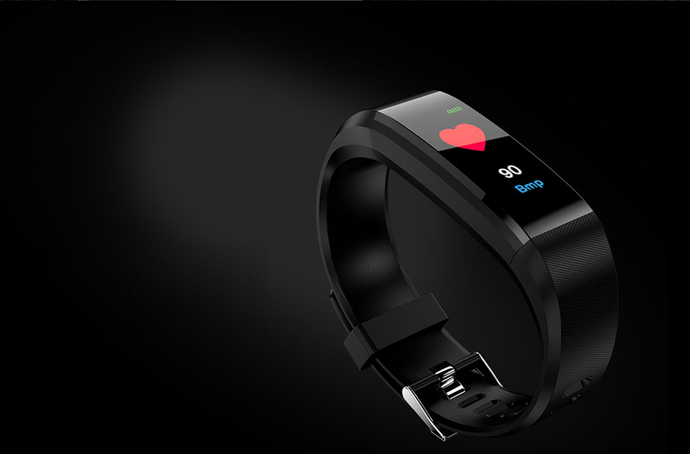 115Plus Smart Bracelet 0.96 inch ST - 17H25 16KB RAM 512KB ROM Heart Rate Monitor Step Count Sedentary Reminder IP67 180mAh Built-in- Black