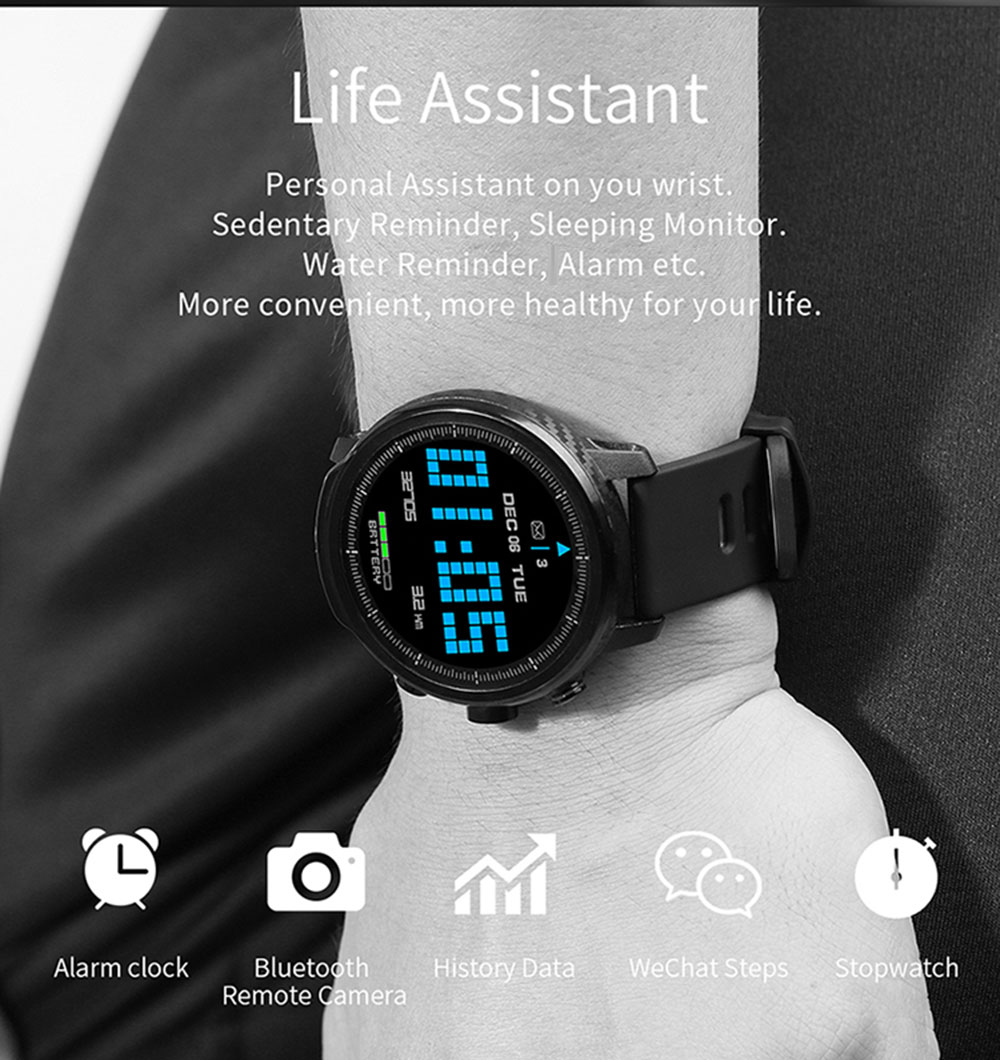 Microwear L5 Smart Watch 1.3 inch Nordic NRF52832 64KB RAM 512KB ROM Heart Rate Monitor IP68 Waterproof Bluetooth 4.0 380mAh Built-in- Black