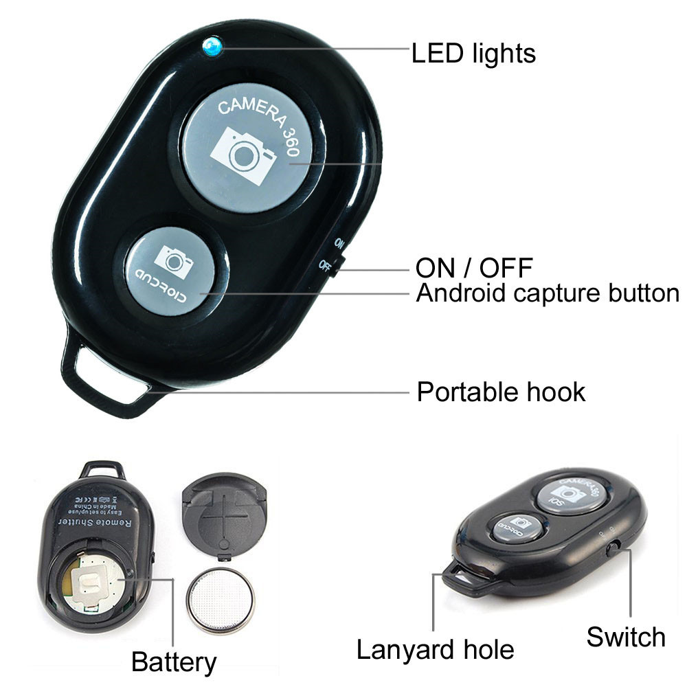 Wireless Bluetooth Camera Shutter Remote Control Timer Remote for iPone  Android
