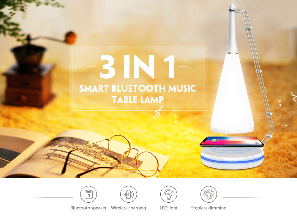 Lampe de table de chargement sans fil haut-parleur Bluetooth intelligent- Blanc Bluetooth