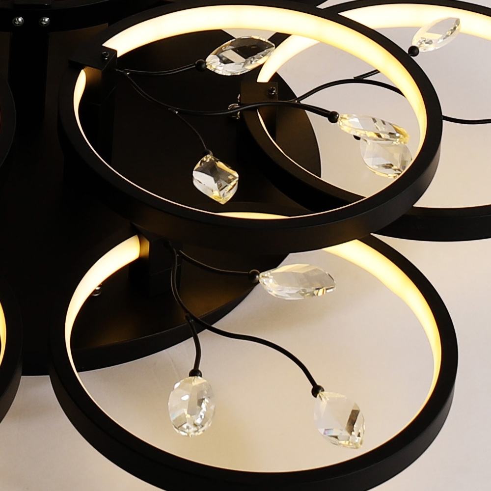 Designers Recommend Creative Crystal Ceiling Lamp-108W-220V- Black White Light