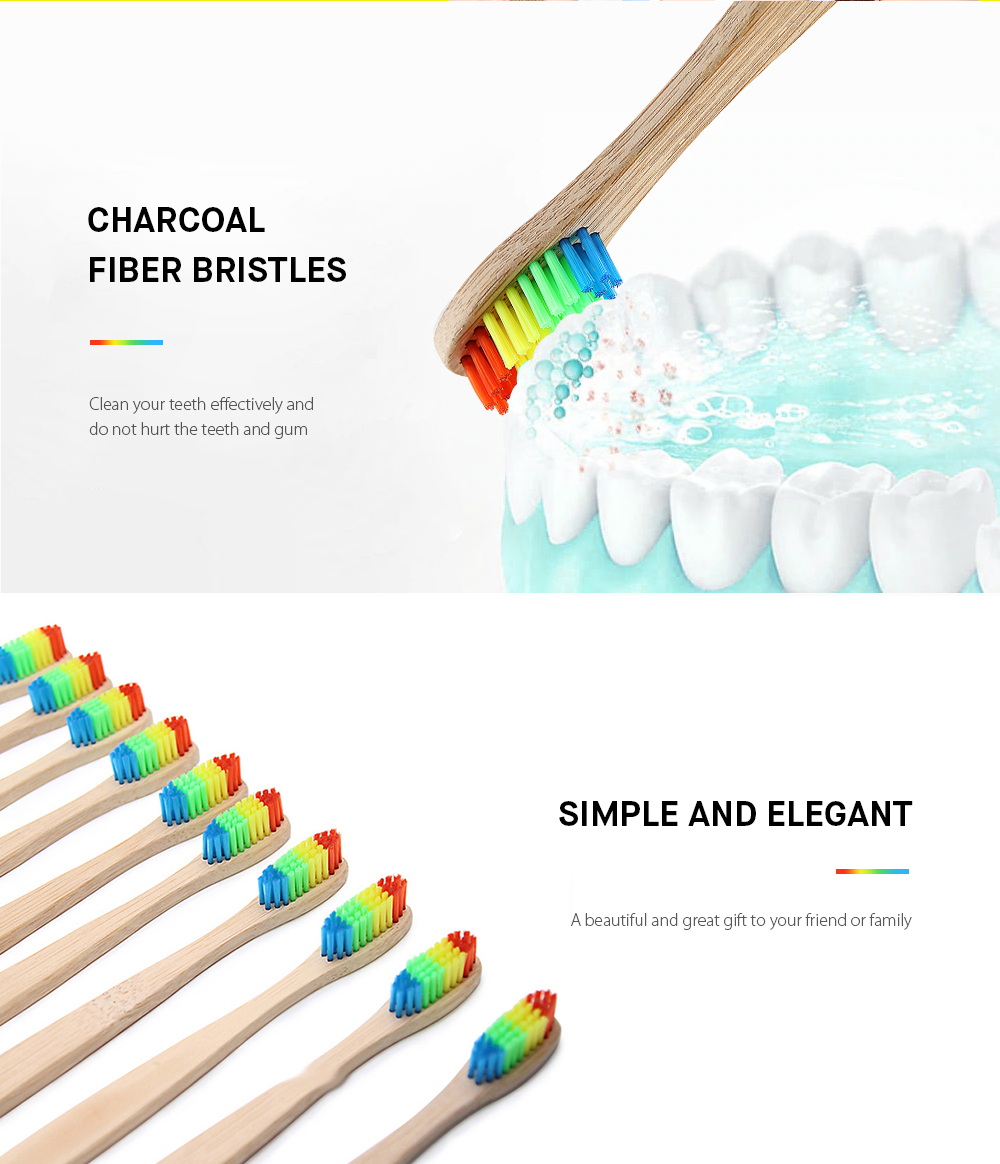 Eco-friendly Bamboo Charcoal Infused Toothbrush - Multi-A
