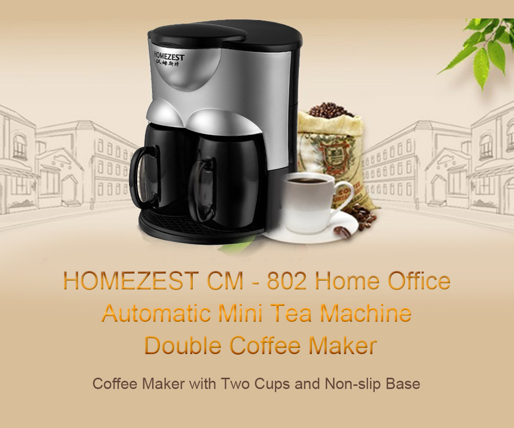 HOMEZEST CM - 802 Home Office Drip Type Automatic Small Tea Machine Mini Double Cup Coffee Machine- Black