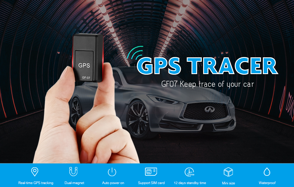 GF07 Magnetic Mini Car Tracker GPS Real Time Tracking Locator Device- Black