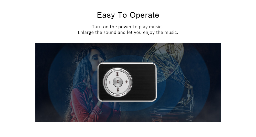 Rectangle Crystal Style SD Card Slot MP3 Player with Universal 3 5mm Jack  Back Clip