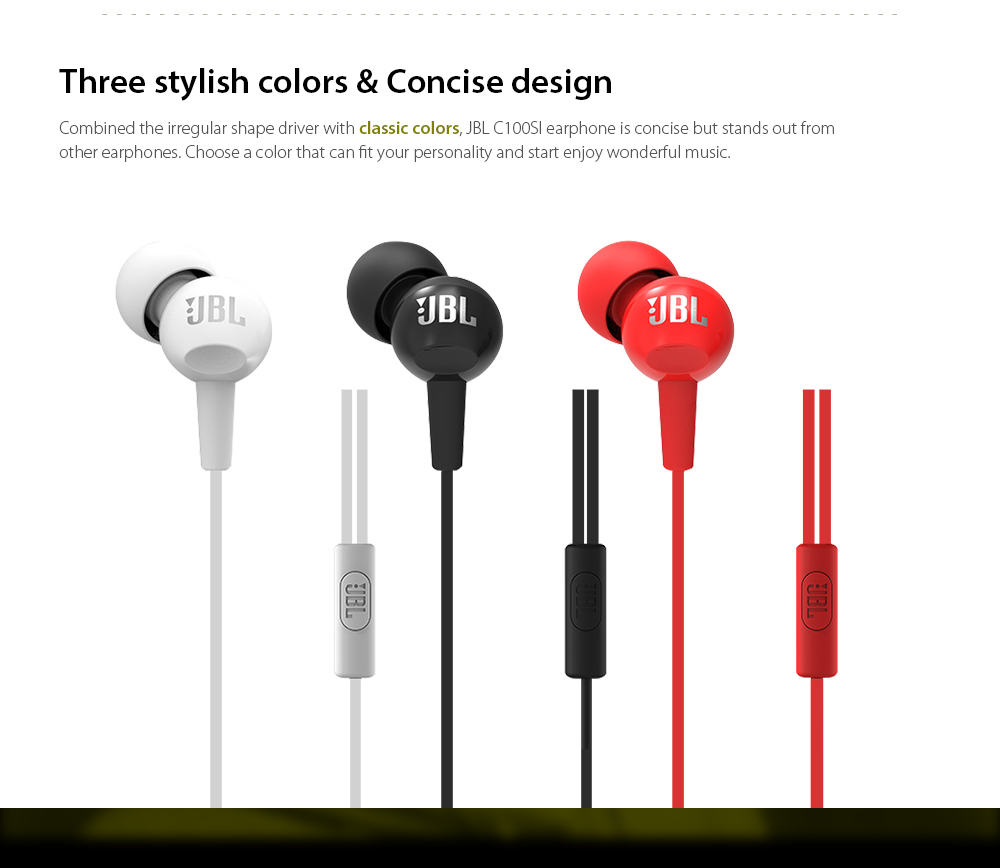 Original JBL C100SI 3.5mm Wired In-line Earphone Stereo Earbuds with Mic and In-line Control- Black