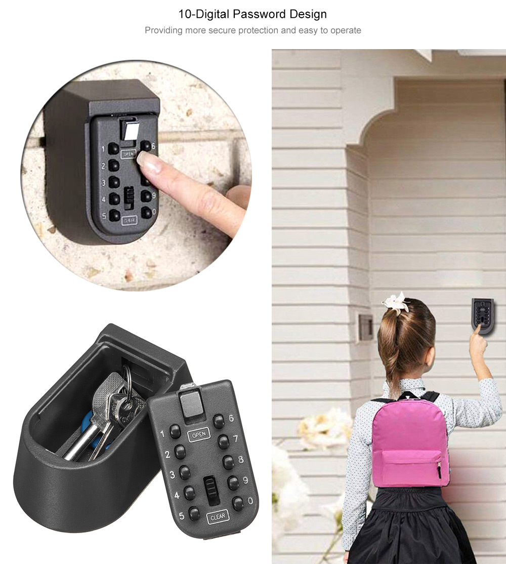 Outdoor Wall-mounted Key Safe Password Lock Storage Box- Black