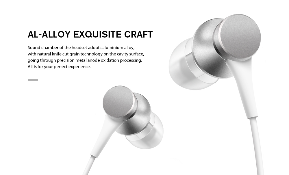 Original Xiaomi Piston In-ear Earphones with Mic Fresh Version- Silver