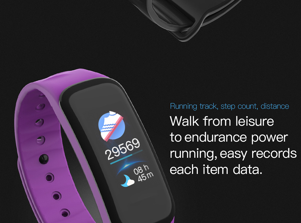 Lerbyee C1 Plus Smart Bracelet 0.96 inch HS6620 64KB RAM 128KB ROM Heart Rate Monitor IP67 Waterproof Bluetooth 4.0 - Black