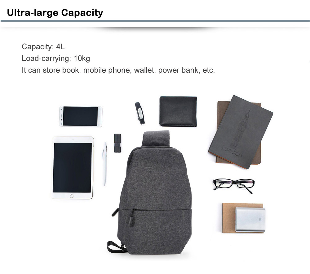 Original Xiaomi 4L Polyester Sling Bag for Leisure Sports- Deep Gray