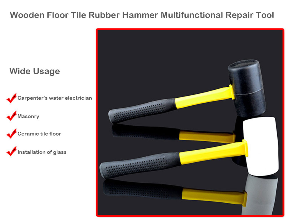 Wooden Floor Tile Rubber Hammer Multifunctional Repair Tool- Black L70