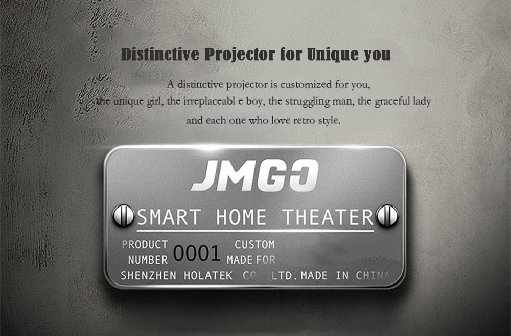 JMGO 1895S LED Retro Projector Home Theater 1920 x 1080 Support 4K 1200 ANSI Android 4.4.2 2GB + 16GB Support 2.4G + 5G WiFi BT4.0- Black EU Plug
