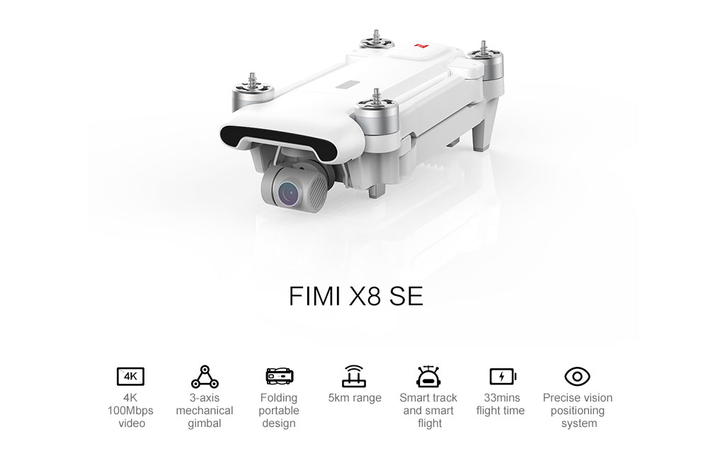 FIMI X8 SE 5KM FPV With 3-axis Gimbal 4K Camera GPS 33mins Flight Time RC Drone Quadcopter RTF ( Xiaomi Ecosysterm Product )- White