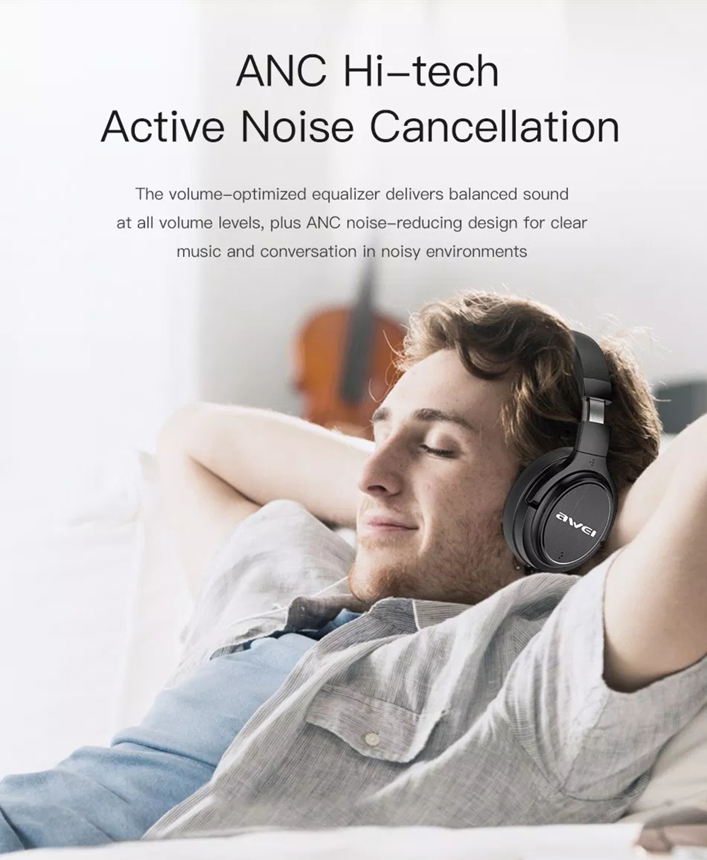 Awei A950BL ANC Noise Reduction Bluetooth Headset Wireless Headband  Headphone with Mic- Black db142408c9bf2