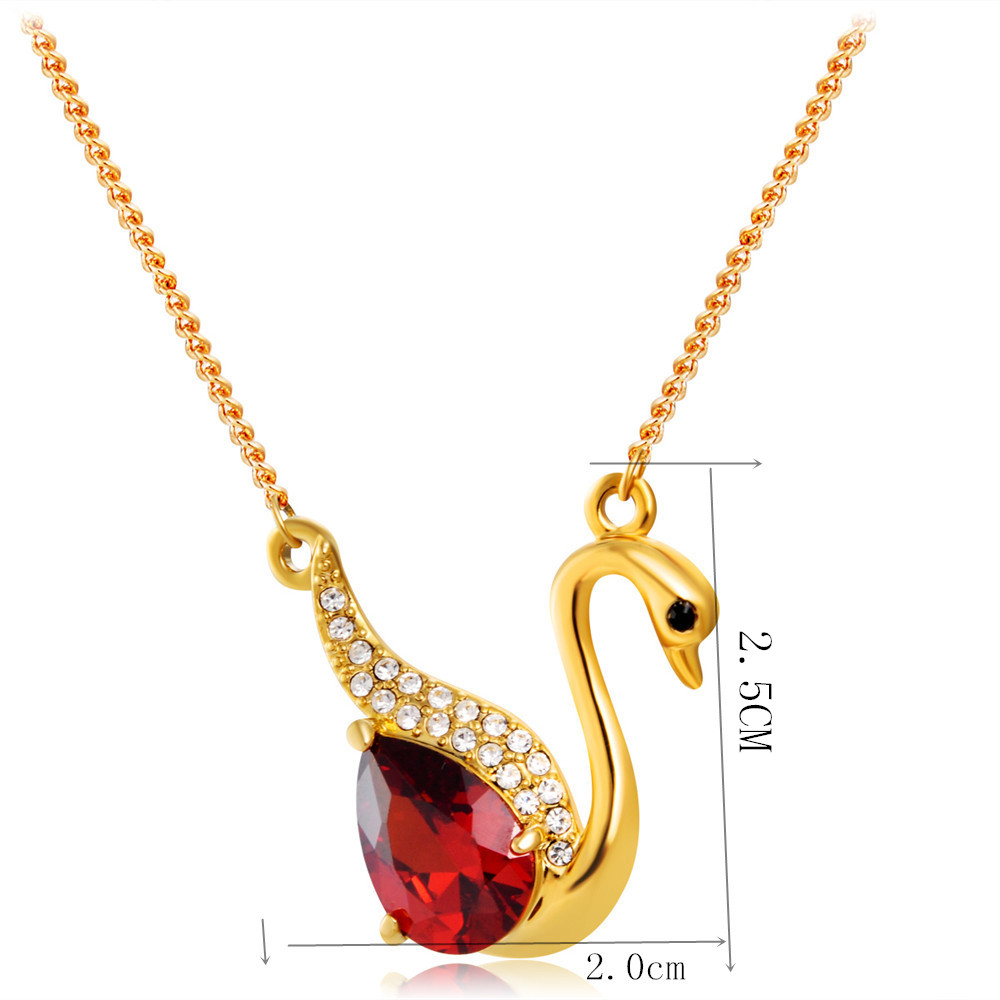 Swan with Zircon Inlay Red Crystal Pendant Necklace- Gold