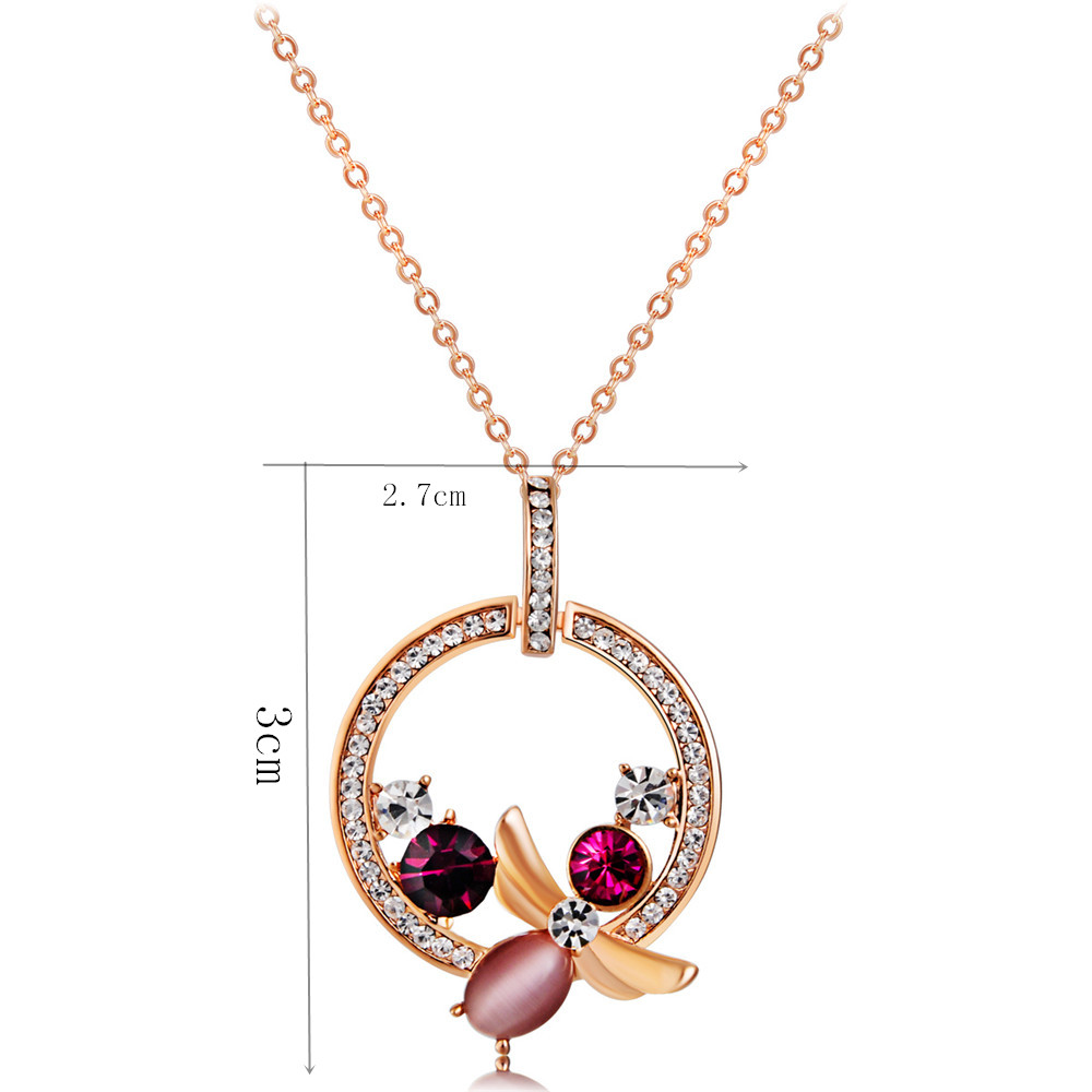 Ring with Zircon Inlay Crystal Butterfly Pendant Necklace- Gold