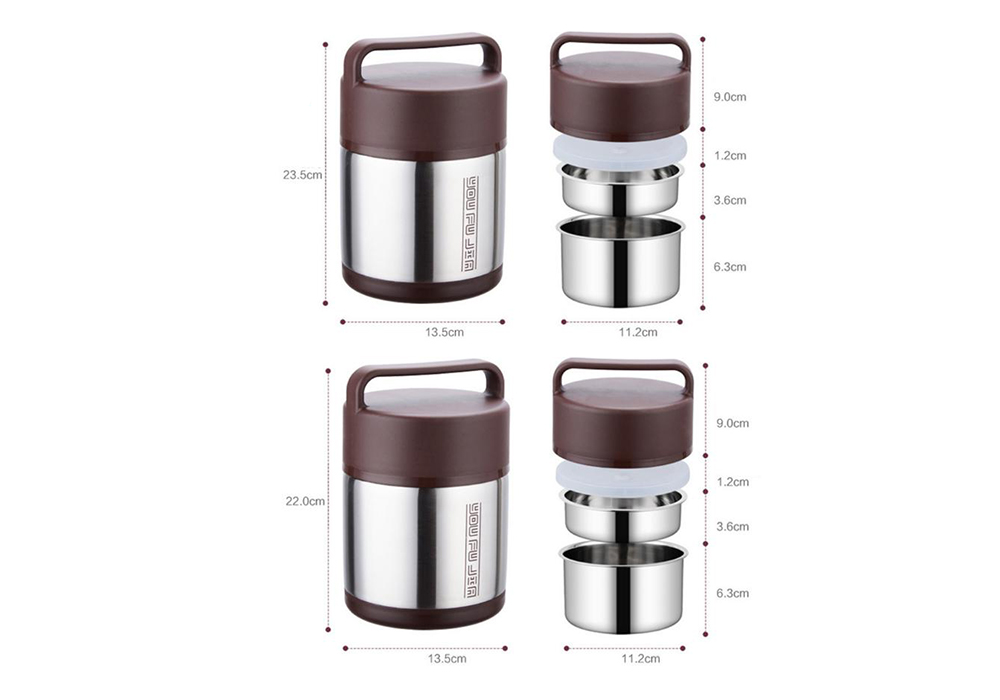 Vacuum Insulated Lunch Box Stainless Steel Jar Hot Cold Thermos Food Container- Red Wine 2L