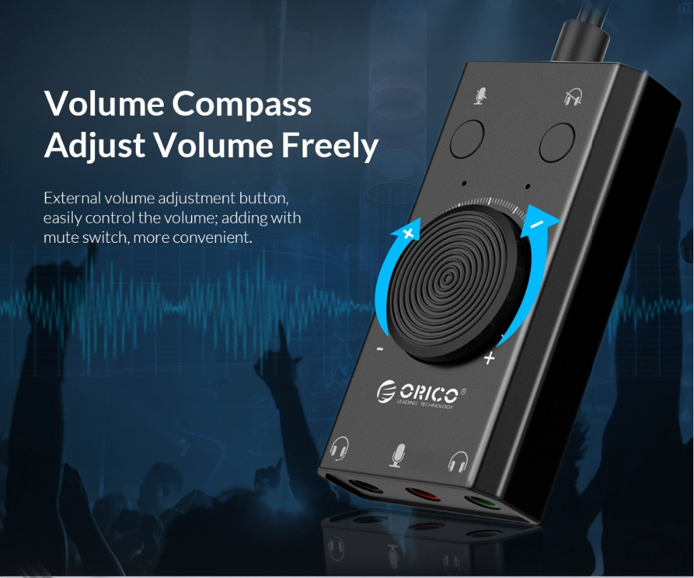 ORICO SC2 External USB Sound Card Mic Adapter Speaker 3 5mm Jack Stereo  Audio Cable Headset Volume Adjustment Free Drive for PC