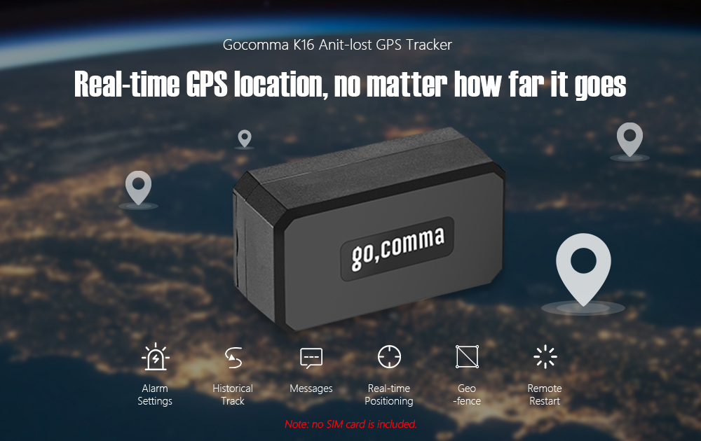 gocomma K16 Mini GPS Tracker- Black