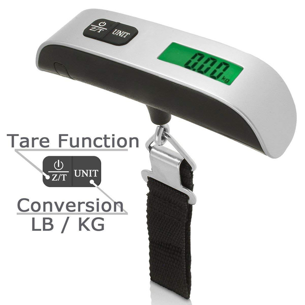 New 50kg//10g Portable LCD Digital Hanging Luggage Scale Travel Electronic Weight Zero and tare High accuracy DRop Shipping 2018