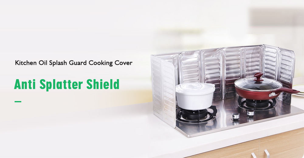 Practical Kitchen Oil Splash Guard Gas Stove Cooker Oil Removal Scald Proof Board Tool- Silver