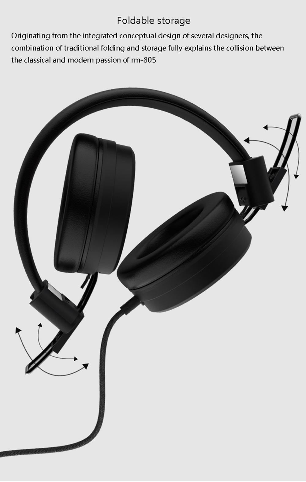 REMAX RM - 805 Wired Headset Music Over-ear Headphone with Microphone- Black