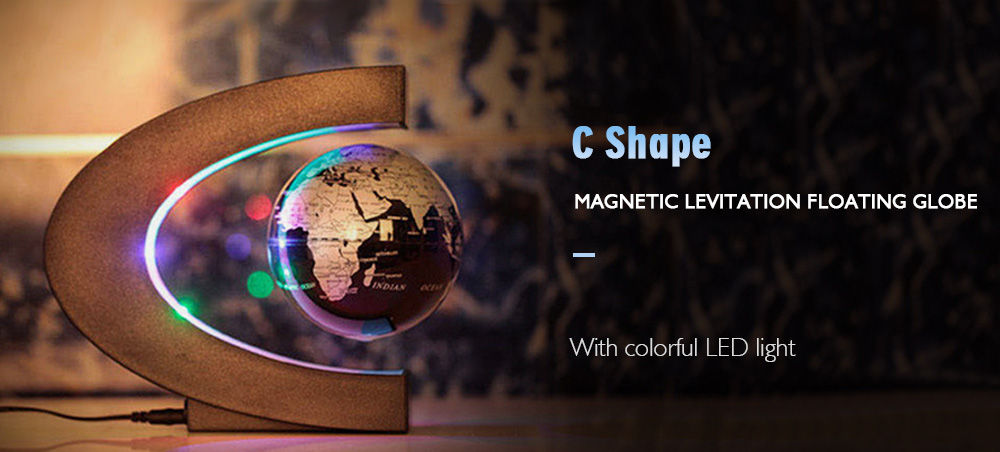 Creative C Shape Magnetic Levitation Floating Globe World Map with Colorful  LED Light for Desk Decoration 482a35c7ef65
