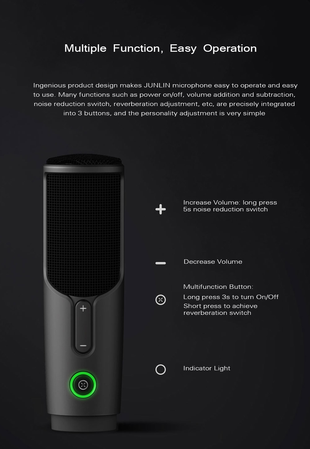 JUNLIN JLM02 Wired Digital Microphone from Xiaomi youpin - Black