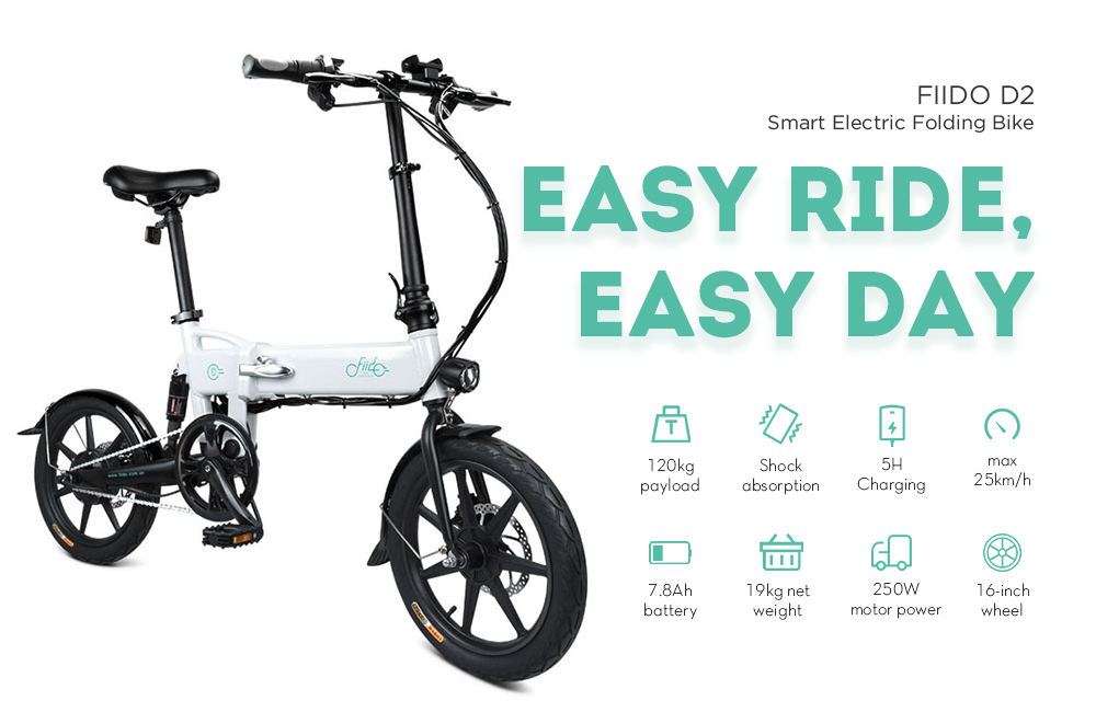 FIIDO D2 Smart Folding Bike Electric Moped Bicycle 7.8Ah Battery / with Double Disc Brakes- Crystal Cream