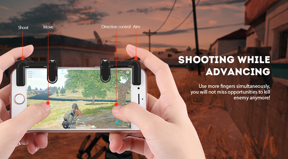 Mobile Game Fire Button Aim Trigger Shooting Controller 2PCS- Black