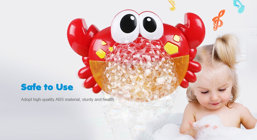 Crab Music Non-toxic Bathing Bubble-blowing Machine for Kids- Fire Engine Red