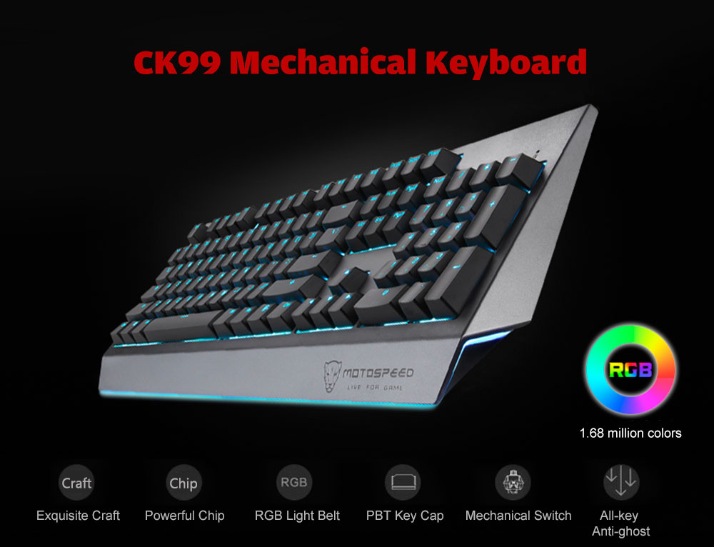 MOTOSPEED CK99 RGB Mechanical Keyboard All Key Anti-ghost 12 Lighting Effects- Battleship Gray Outemu Blue Switch