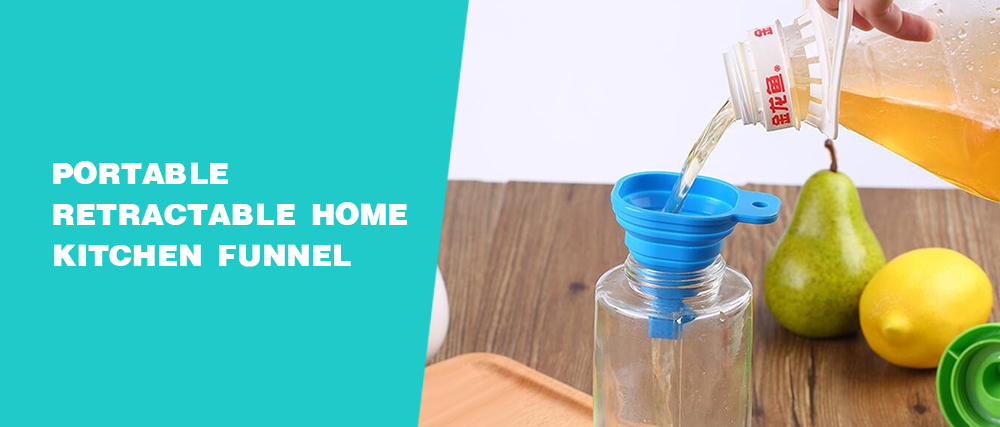 Portable Retractable Home Kitchen Funnel- Blue