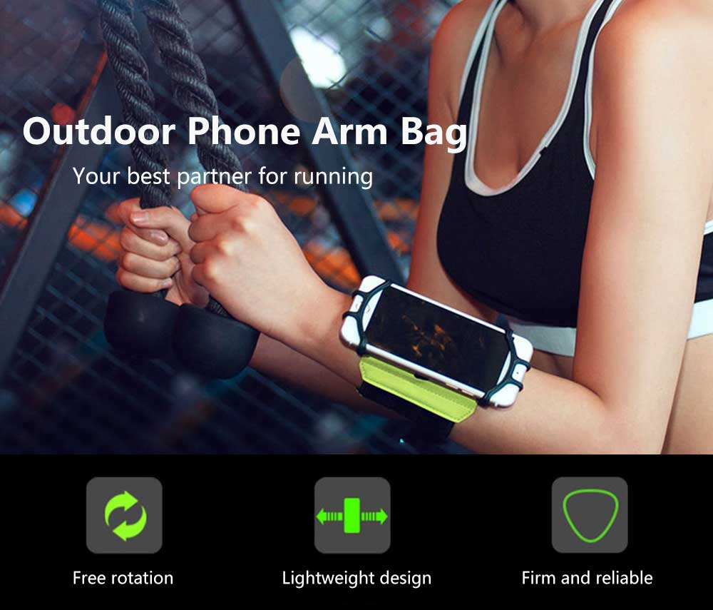 Rotatable Mobile Phone Arm Bag Running Mountaineering Riding Multi-function Outdoor Wrist Pack- Black