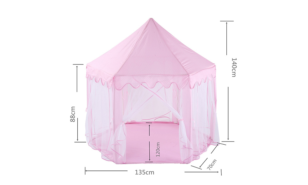 Children Tent Korean Indoor Mesh Hex Mosquito Net Baby Decoration Play House Princess Toy Castle- Pig Pink