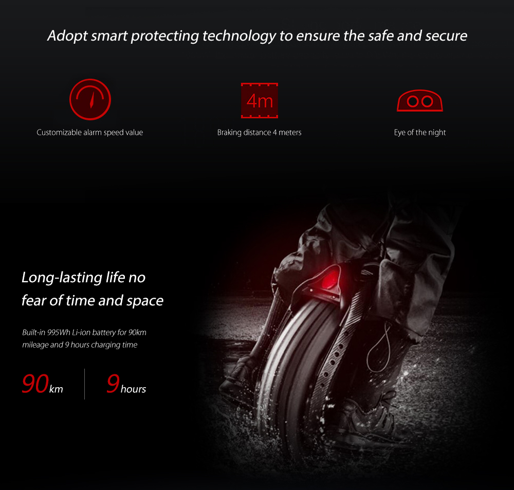 Ninebot One Z10 995Wh Battery Electric Balance Unicycle  from Xiaomi mijia- Black