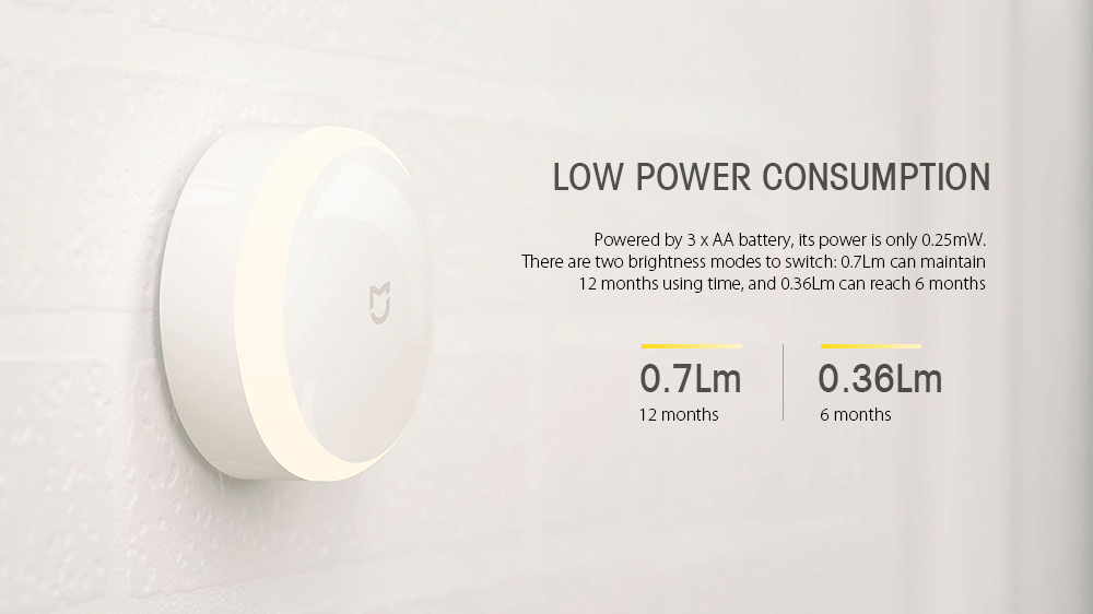 Xiaomi Mijia MJYD01YL Photosensitive and IR Sensor Night Light- White 1Pc