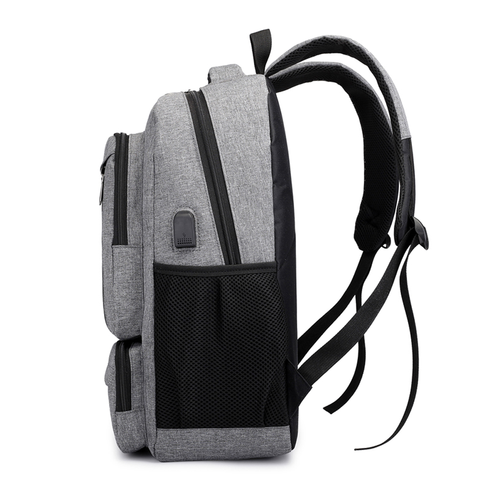 Leisure Men Backpack Tide College Wind Students School Bag With USB Charge  Port- Black L 74bf45496f