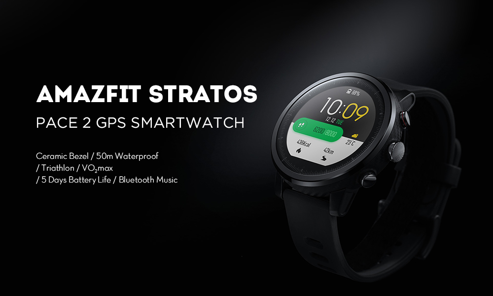 Original AMAZFIT Stratos / Pace 2 Smartwatch Running Watch GPS Xiaomi Chip Bluetooth 4.2 ( Xiaomi Ecosystem Product ) - Black