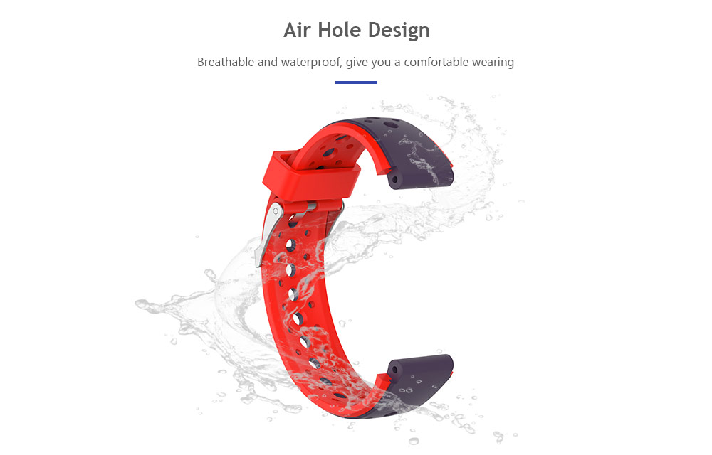 18mm Children Double Colors Soft Breathable Silicone Wristband for HUAWEI Band 3 Pro Kids Smart Watch - Multi-D