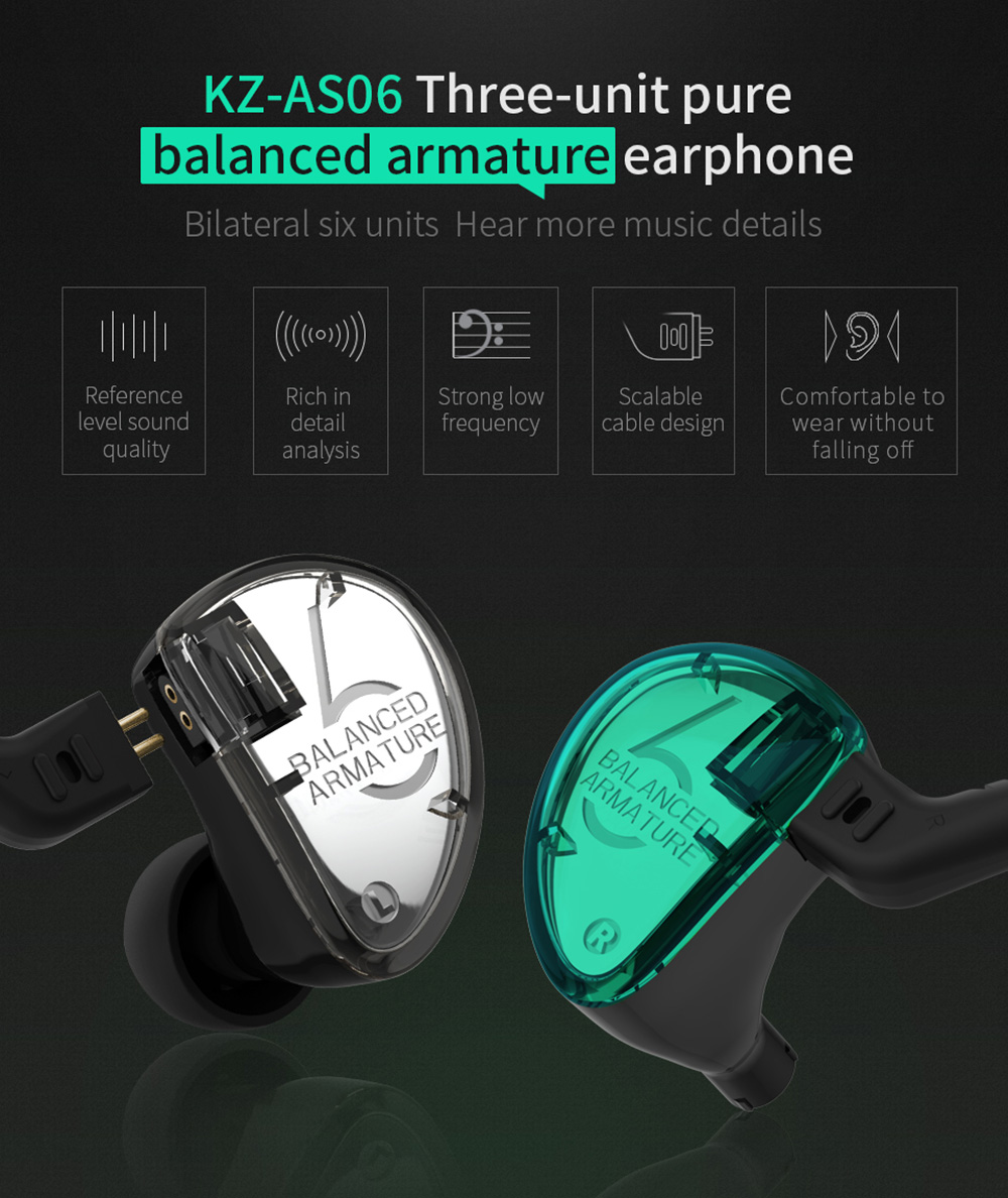 KZ AS06 In-ear Stereo Earphones 3BA Balanced Armature Driver Noise Cancelling HiFi BassEarbuds - Black without Mic