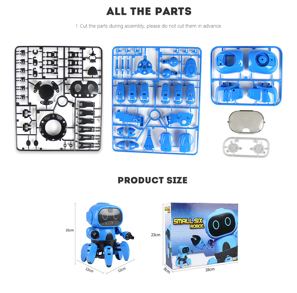 MoFun - 963 DIY Assembled Electric Robot Infrared Obstacle Avoidance Educational Toy- Dodger Blue